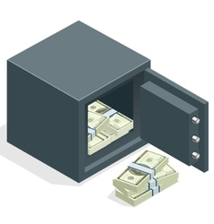Bank safe with money dollar stacks Safe open with vector image vector image