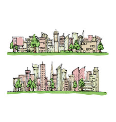 cartoon hand drawing city and trees with color on vector image vector image