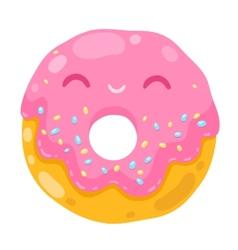 cute smiling donut cartoon food vector image