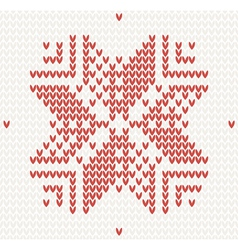 Red knitted snowflake Seamless vector image vector image