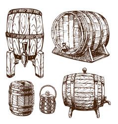 Wooden barrel vintage old hand drawn sketch vector