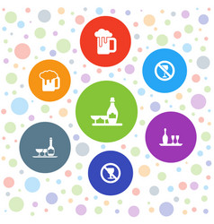 7 alcoholic icons vector image