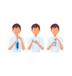 a bottle of water in hands vector image