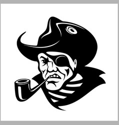 angry pirate with pipe portrait pirate vector image