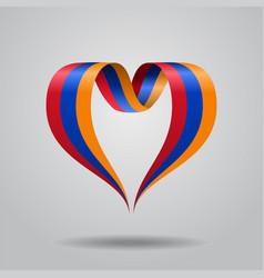 Armenian flag heart-shaped ribbon vector