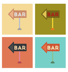assembly flat icons poker bar sign vector image