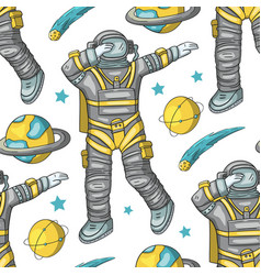astronaut seamless pattern vector image