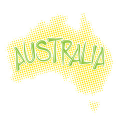 Australia map halftone vector