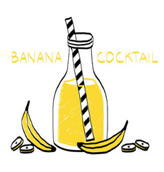 Banana coctail in interesting cup vector