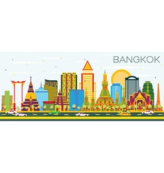 Bangkok Skyline with Color Landmarks vector