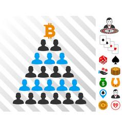 Bitcoin ponzi pyramid icon with bonus vector
