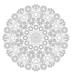 black and white circular spring floral mandala vector image