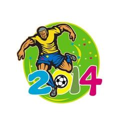 Brazil 2014 Football Player Kick Retro vector image