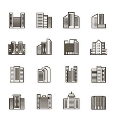 buildings sign black thin line icon set vector image