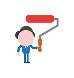 businessman holding red paint brush roller vector image