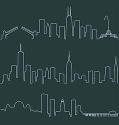 chicago new york and los angeles single line vector image