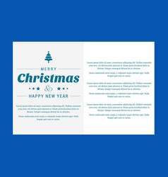 christmas invitation card with blue background vector image