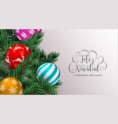 christmas tree decoration banner in spanish vector image