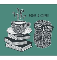 Coffee and books with cute clever owl in vector