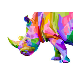 colorful rhinoceros pop art style isolated vector image