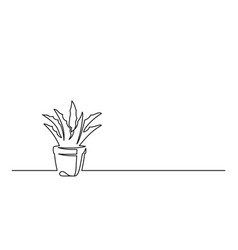 Continuous line drawing a flower in a pot vector