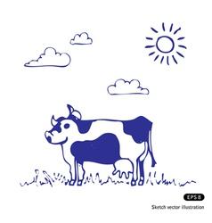 Cow grazes vector