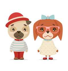 Cute puppy dogs boy girl geek cubs hipster mascot vector