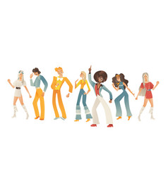 disco dancing people set with vector image