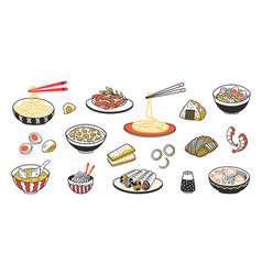 Doodle asian food chinese noodles soup meat vector