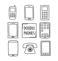 Doodle Phones Set Old modern smartphones - vector