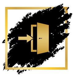 Door exit sign golden icon at black spot vector