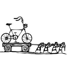 dragging bike vector image