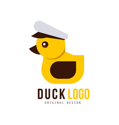 Duck logo original design element with yellow toy vector