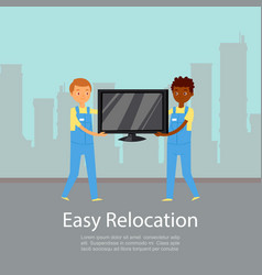 Easy relocation poster lettering company vector