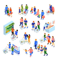 family shopping set vector image