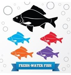 Fish icon Food symbol Cyprinidae family vector image