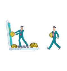 flat bitcoin mining businessman concept vector image