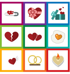 Flat icon heart set of wings scrambled ring and vector