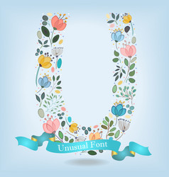 floral letter u with blue ribbon vector image