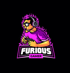 furious young male gamer shouting cartoon mascot vector image