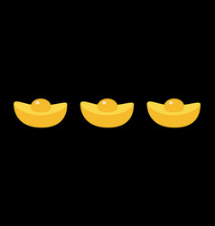 gold ingot line set chinese new year symbol vector image