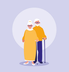 grandparents couple characters icon vector image