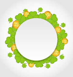 Greeting card with shamrocks and golden coins for vector image