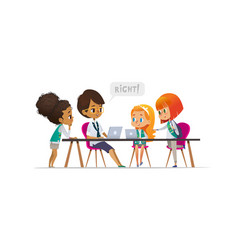 happy girl scouts and female troop leader learning vector image