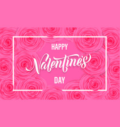 happy valentine day floral greeting card pink vector image