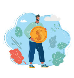 happy young man in with money vector image