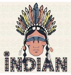 Head indian injun wearing headdress with feathers vector