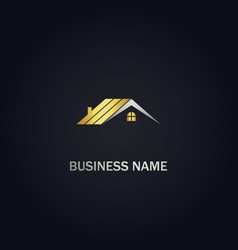 Home roof realty company gold logo vector