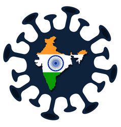 india map coronavirus prevention india flag with vector image