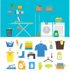 Interior laundry room with furniture and part set vector